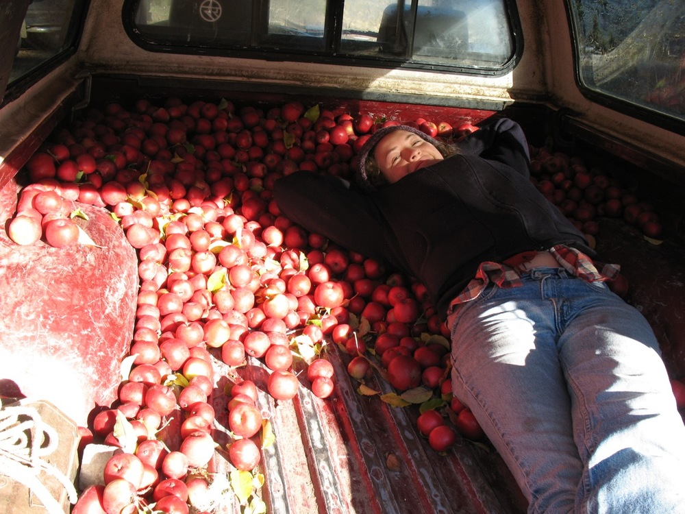 Brave and beautiful Kendra in a bed of apples