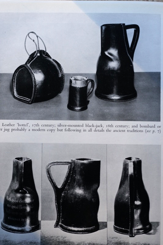 Old leather vessels:  Black jack with silver rim, bombards (pitchers) and a leather bottle from John Waterer'sbook  Leather and Craftsmanship