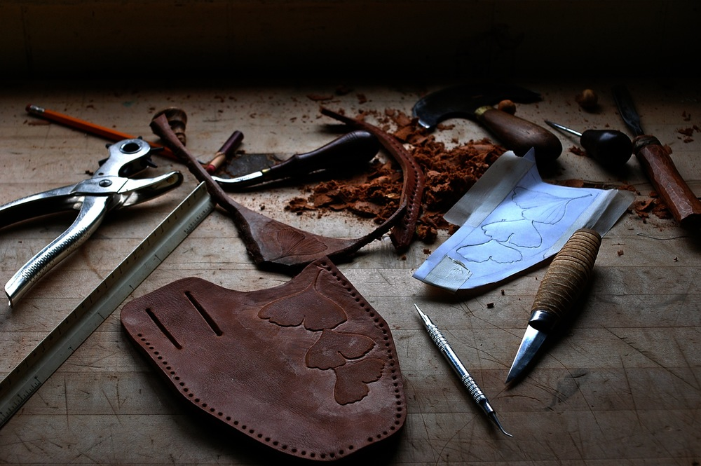 Bark tanned bull leather pruner sheath in progress.