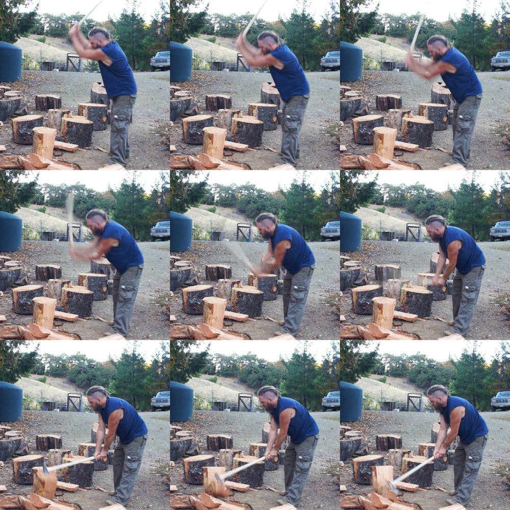 These video stills helped me understand my technique better and will no doubt lead to further refinement.  They are evenly spaced and shot at 24 frames per second, so covering just 9/24ths of a second.  Notice how much faster the maul head travels from frames 4 to 6, due to a tightening of the radius of the swing. It is hardly visible in frame 6, too fast for the camera to catch.        After frame 5, the arc revolves around my fixed wrist position.  Between frames 5 and 9, my wrists move very little, but the head moves 4 feet or more.  I'm not pushing the head through the wood, I'm whipping it on the end of this long handle to throw it through the wood.  The force generated by this technique can be very powerful.  It's about taking the mass you have to work with and accelerating it very fast using simple leverage.      Also, note that because of that tighter radius, the angle of attack is significantly toward me.  If the round were up on a block, that could put the mauls edge pointing dangerously at my ankles or feet... not to mention that I would have less time and distance in which to generate speed unless I'm 7 feet tall.  A low block is an option, but requires moving each round onto the block.  Of course, this much momentum is often unnecessary.  Splitting blocks are great sometimes, but I've come to use them less and less for the type of splitting I'm usually doing around here.