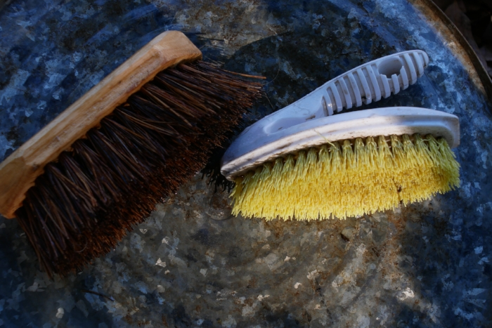 Stiff brushes for cleaning tubs, tools and beams are almost essential