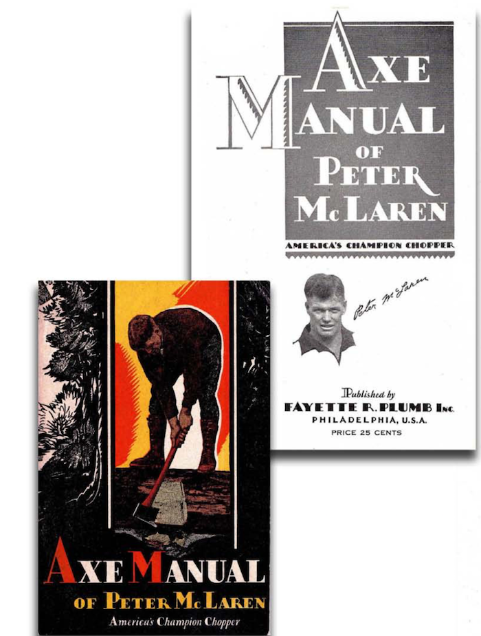 Celebrity Axeman of old, Peter McLaren's Manual of axe work put out by the Plumb Tool company. Download for free here…  https://scoutmastercg.com/the_axe_manual_/