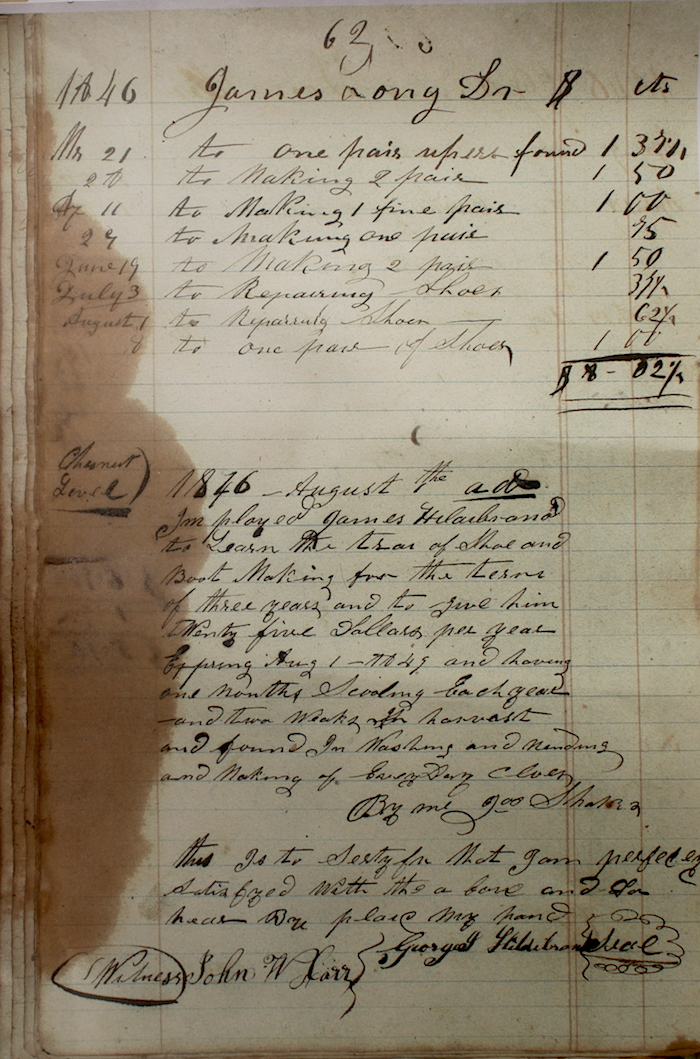 Aside from some logging of shoe repairs and sales, this page contains a contract discussing a term of apprenticeship, an annuity, room, board, washing and mending of clothes, and a provision for a promise of three weeks farm labor at harvest time.
