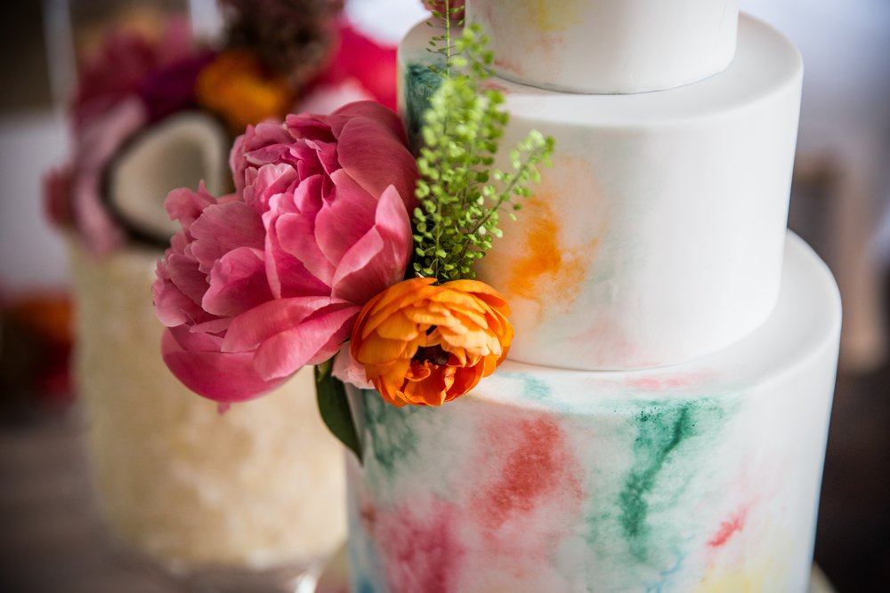 {Tropical Fiesta - Watercolour Iced Cake} Creative & Unique Wedding Cakes | Yummy Little Cakes - Nottingham | www.yummylittlecakes.co.uk