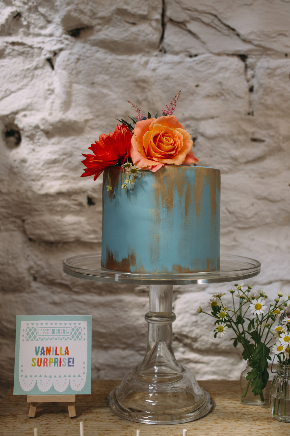 {Handpainted Metallic Wedding Cake} Creative & Unique Wedding Cakes | Yummy Little Cakes - Nottingham | www.yummylittlecakes.co.uk