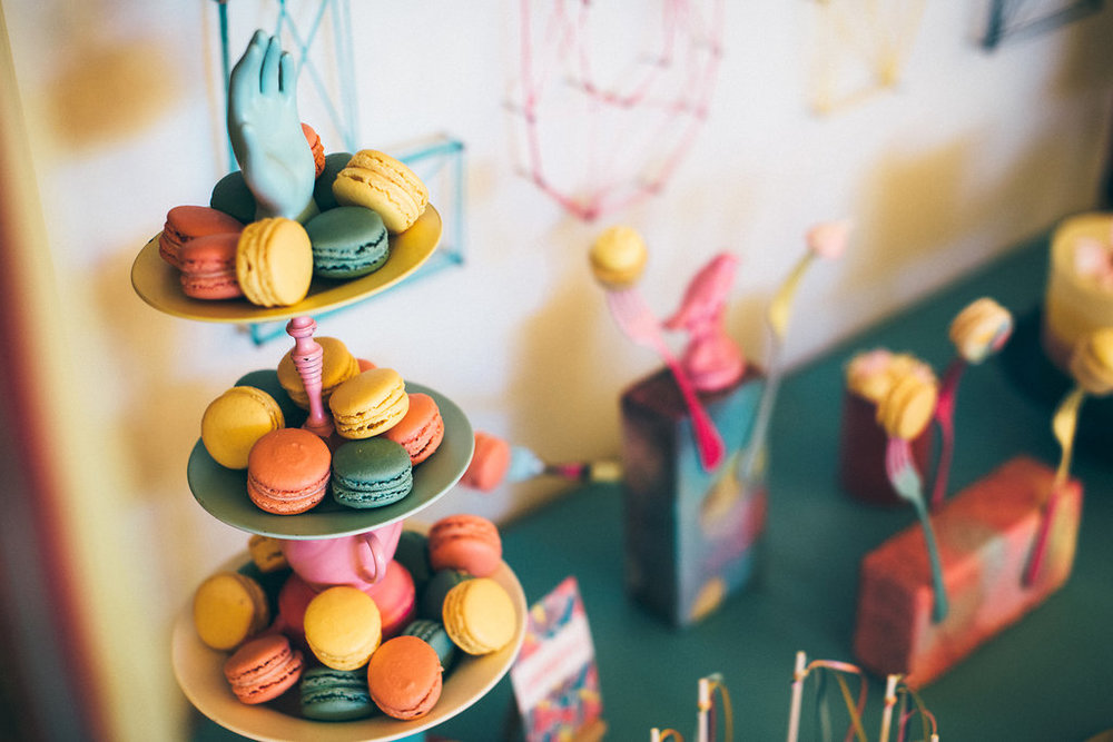 {Quirky Macaron Display} Creative & Unique Wedding Cakes | wedding treats Nottingham