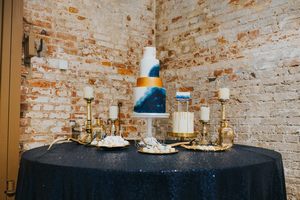 {Blue & Gold Wedding Cake Display} Creative & Unique Wedding Cakes | Yummy Little Cakes - Nottingham | www.yummylittlecakes.co.uk