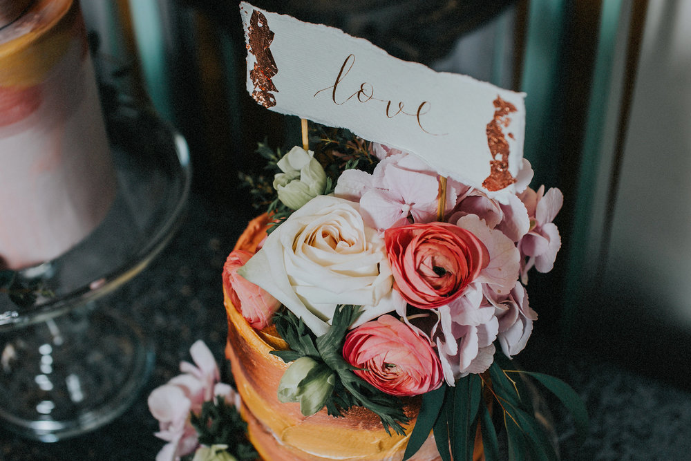 {Floral Topped Wedding Cake with Calligraphy Cake topper} Creative & Unique Wedding Cakes | Nottingham wedding cakes