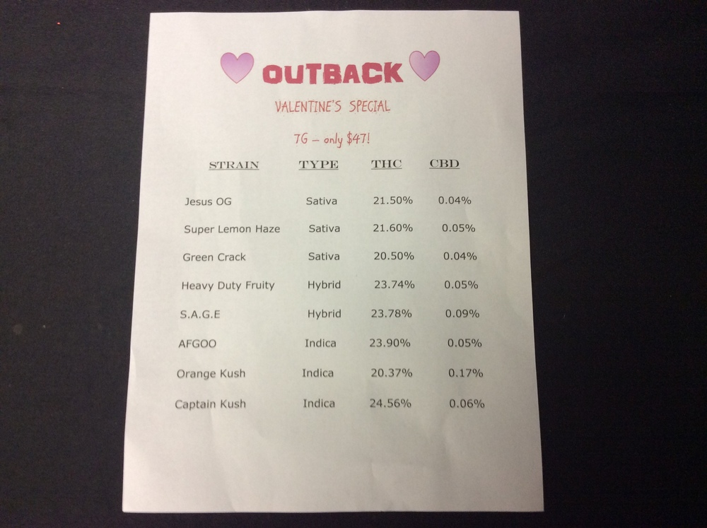 Outback Bud Company Valentines Specials 7 Grams For $47!