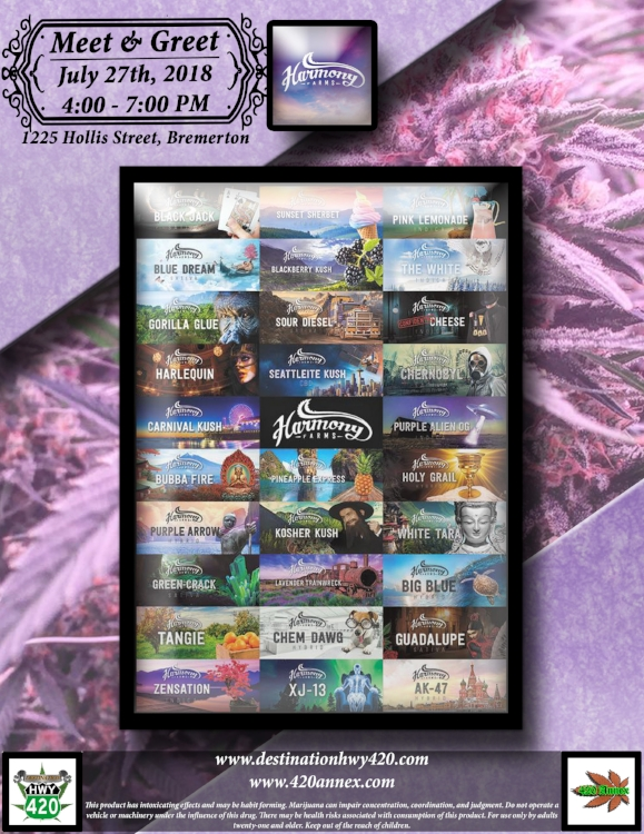 Harmony Farms will be visiting Destination HWY 420 in East Bremerton this Friday for a Meet & Greet. Harmony Farms is a clean and compassionate marijuana producer/processor that is setting the standard for Washington cannabis.