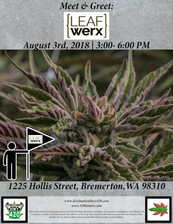 Leafwerx Vendor Day at Destination HWY 420 in East Bremerton, WA. This Friday, new Leafwerx Pax Pods will be available at Destination HWY 420. Come join us in Bremerton for this special Meet & Greet with an amazing cannabis company, LeafWerx. All of their products will be discounted for Vendor Day, so you'll have a chance to pick some up for low prices!