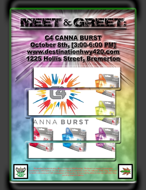 C4 Canna Burst is a line of marijuana infused chewy fruit candy available in Washington State. C4 produces some delicious flavors such as Berry Bomb, Grape Grenade, Lemon Blast, Mango Mortar, and Strawberry Surge. Their edibles are formulated to have strain qualities, Sativa having uplifting cerebral effects, Indica with relaxing and sedative effects. The C4 Canna Burst line of products are available at Destination HWY 420 in East Bremerton.
