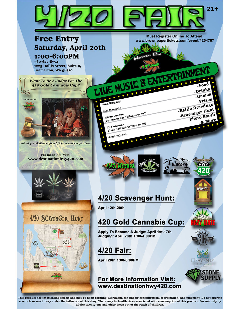 The 4/20 Fair, held in East Bremerton every year, is hosted by the 420 Annex. For 4/20/2019, the Fair will be bigger and better than ever! Join us and the rest of your Best Buds for food, drinks, live music, games, prizes, raffle drawings, scavenger hunts, photo booths, and more. We hope you'll be joining us and the rest of the Kitsap Cannabis Community for this special Cannabis Culture Holiday.