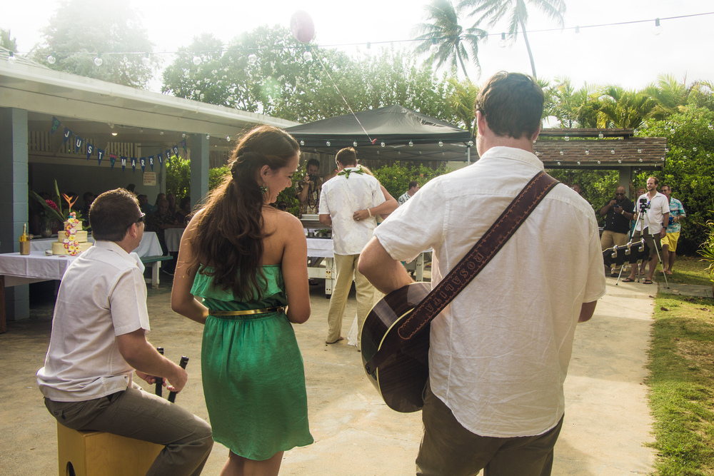 """They specially learned our 'first dance' song for the event ('Into The Mystic' by Van Morrison) and to this day we still get tears in our eyes when we hear it.""    - Stephanie & Noah (Wedding, Oahu, Summer 2013)"