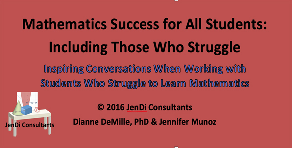 Mathematics Success for All Students: Including Those Who Struggle   Inspiring Conversations When Working with Students Who Struggle to Learn Mathematics   In working with teachers of mathematics at all grade levels, conversations with teachers and students provided insight into strategies and validation for the work we should do to help others be successful. We can all learn from understanding the experiences of others. You will find different insights from each conversation. These give a guide to the work we need to focus on with students who struggle to learn mathematics at all levels.   FREE DOWNLOAD