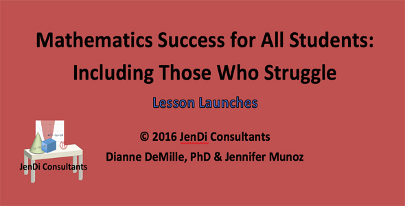 Mathematics Success for All Students: Including Those Who Struggle     Lesson Launches  –  A Lesson Launch, Warm Up, or other class starter often begins a lesson with a real-life problem to set the stage of what will be learned in the lesson. Word problems have always been considered the most difficult part of teaching and learning mathematics at any grade level. Included in these  Lesson Launches  are practical situations or word problems.   $ 8.00