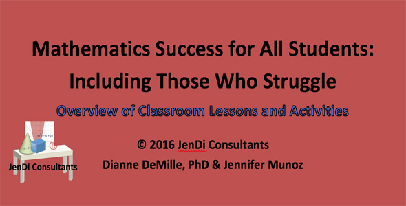 Mathematics Success for All Students:   Including Those Who Struggle     Overview of Classroom Lessons and Activities   This paper is an overview of the resources available that include classroom lessons, word problem strategies, guided practice, problem tasks, station activities, and pre- & post-assessments with teacher guide and solutions. Mathematics is often seen as the most difficult content to learn. In this era, learners are more visual and tactile. We need to be cognizant of those who learn differently than the way we did. When the curriculum is provided in a way that helps students learn best, most can be successful learning mathematics.   FREE DOWNLOAD