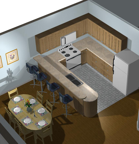 Interior 3D View - Kitchen