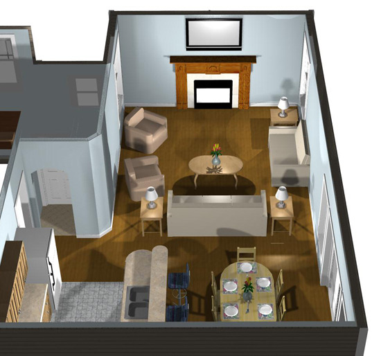 Interior 3D View   Living Area