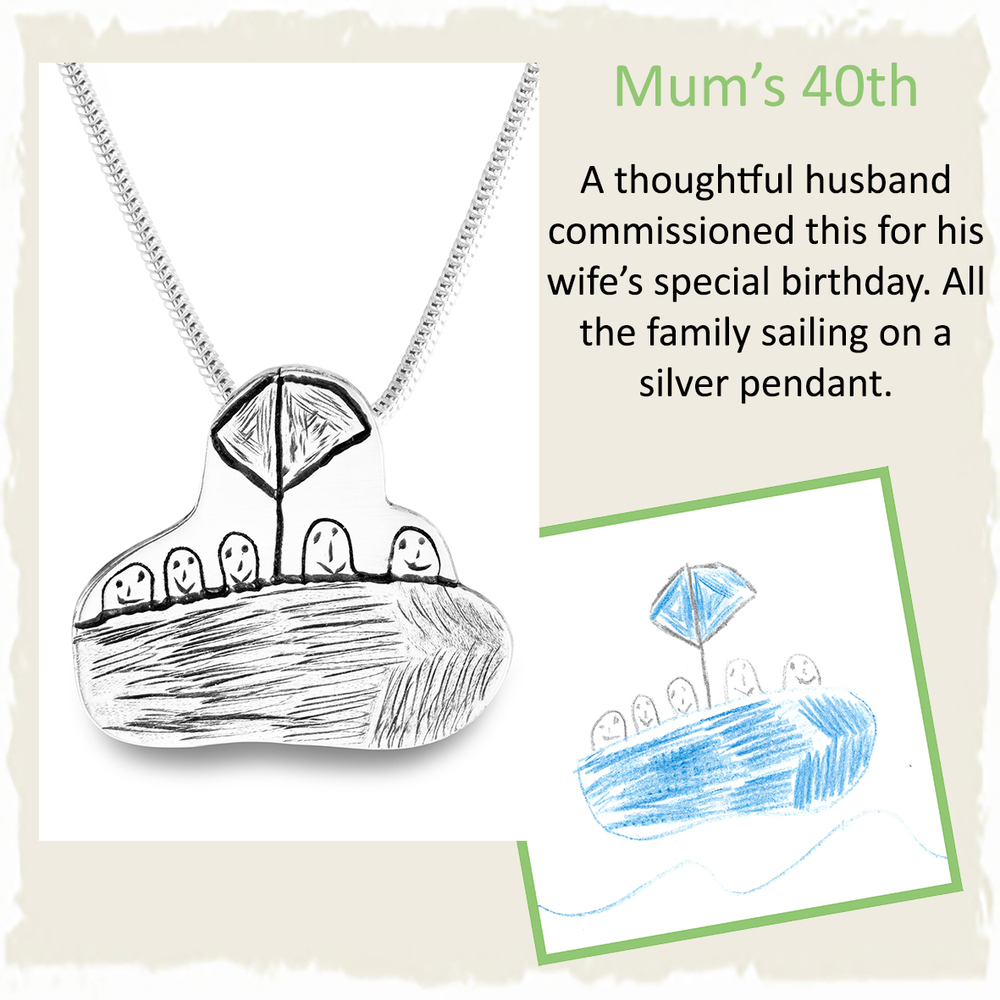 40th birthday present for mum handmade silver pendant from childs drawing