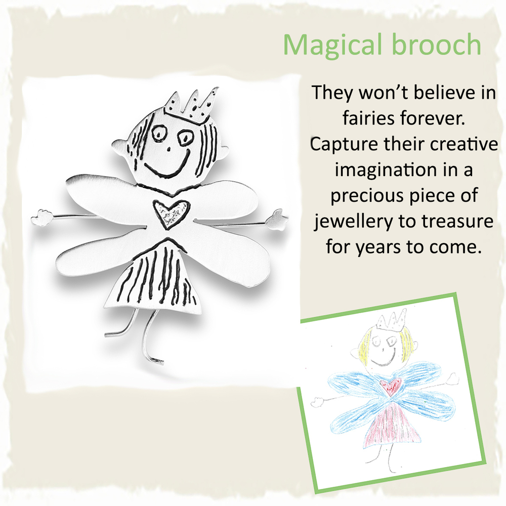 Handmade silver fairy brooch from girls drawing