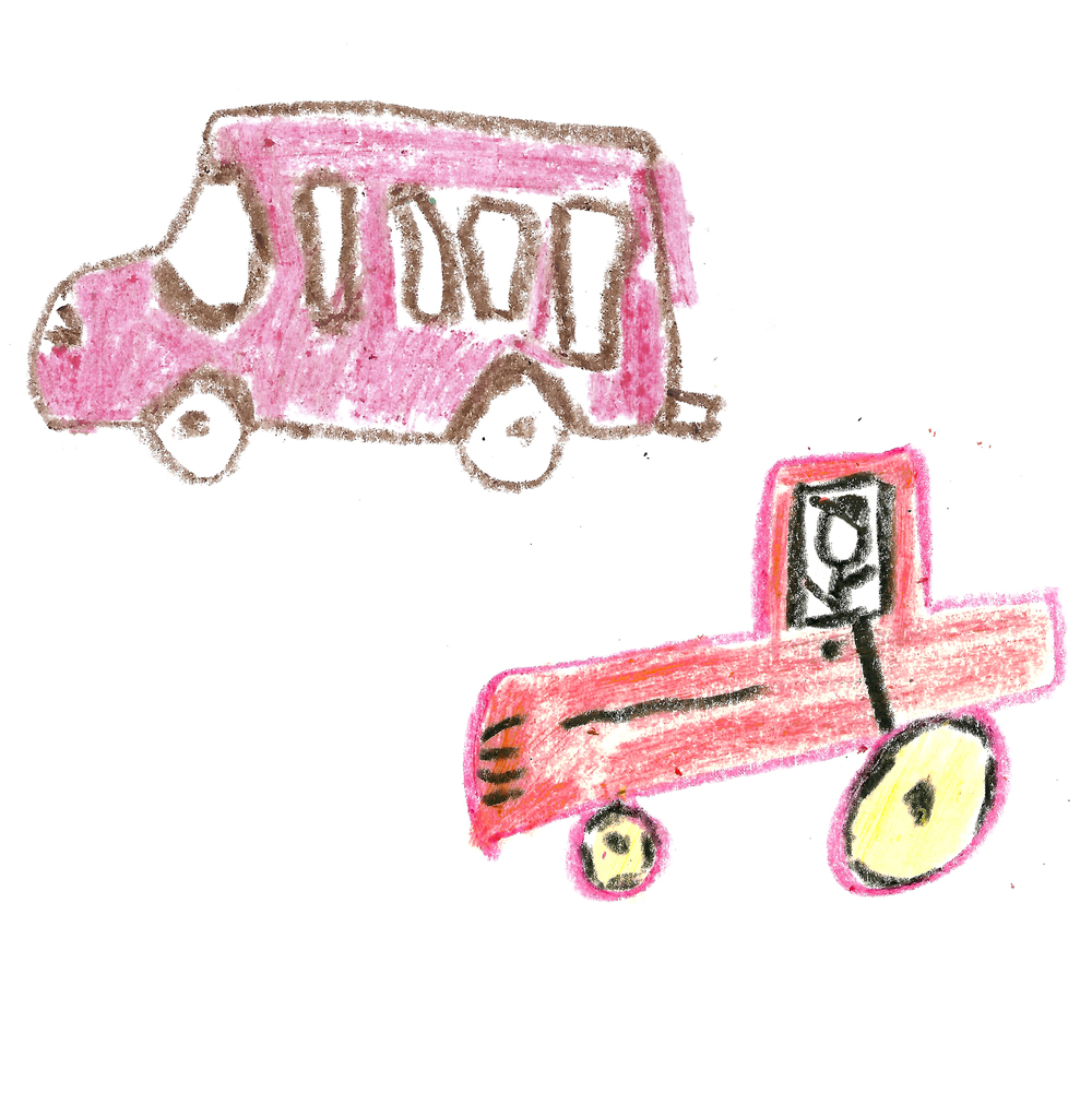 Handmade silver cufflinks from childs drawings of tractor and bus