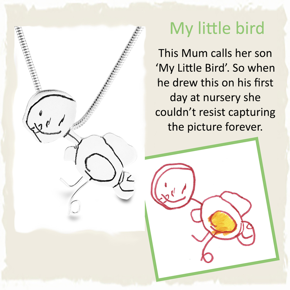 Handmade silver pendant from child's nursery drawing of bird