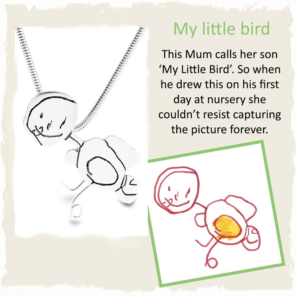 Handmade silver pendant from child's nursery drawing of bird