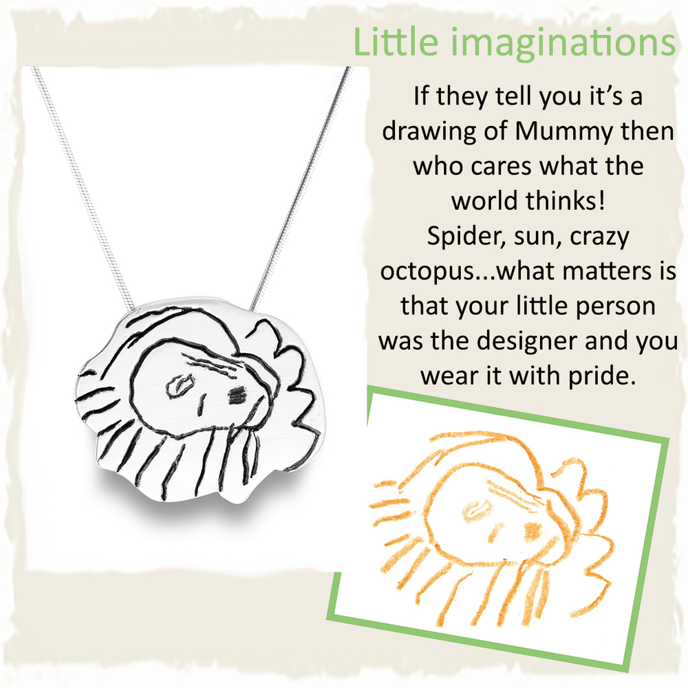 Handmade silver pendant necklace from childs drawing