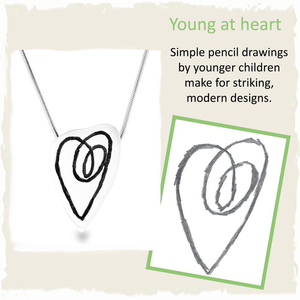 Handmade silver heart pendant from childs drawing