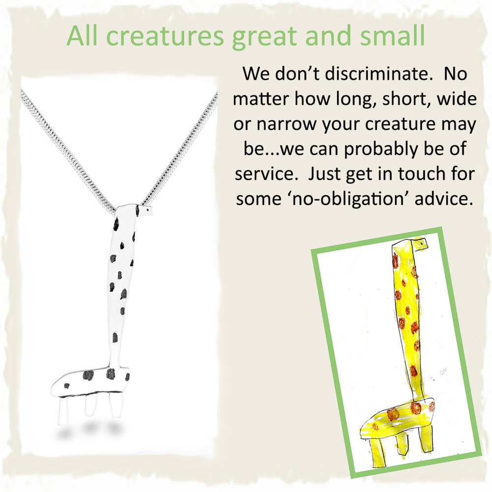 Handmade silver giraffe pendant necklace from childs drawing