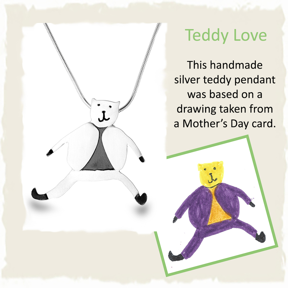 Handmade silver teddy pendant necklace from childs mothers day card