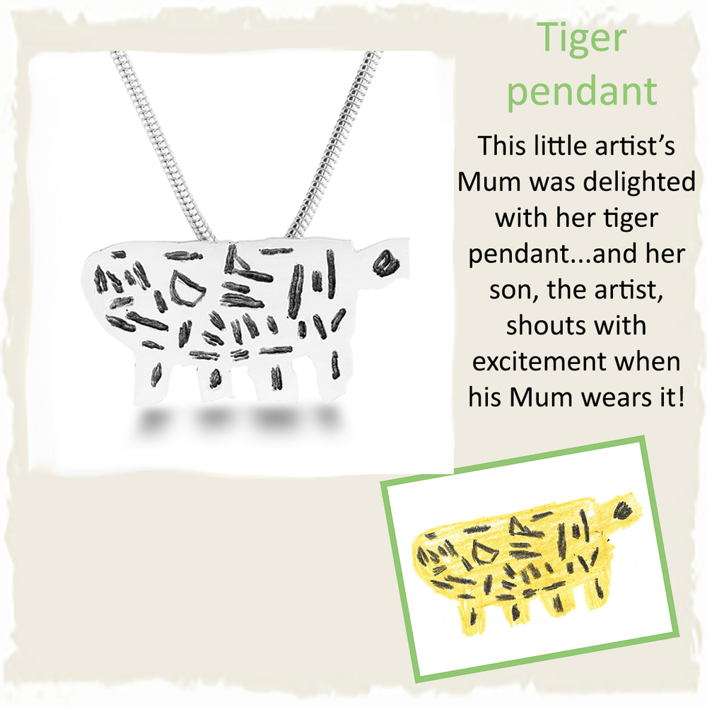 Handmade silver tiger pendant necklace from childs drawing for mummys birthday