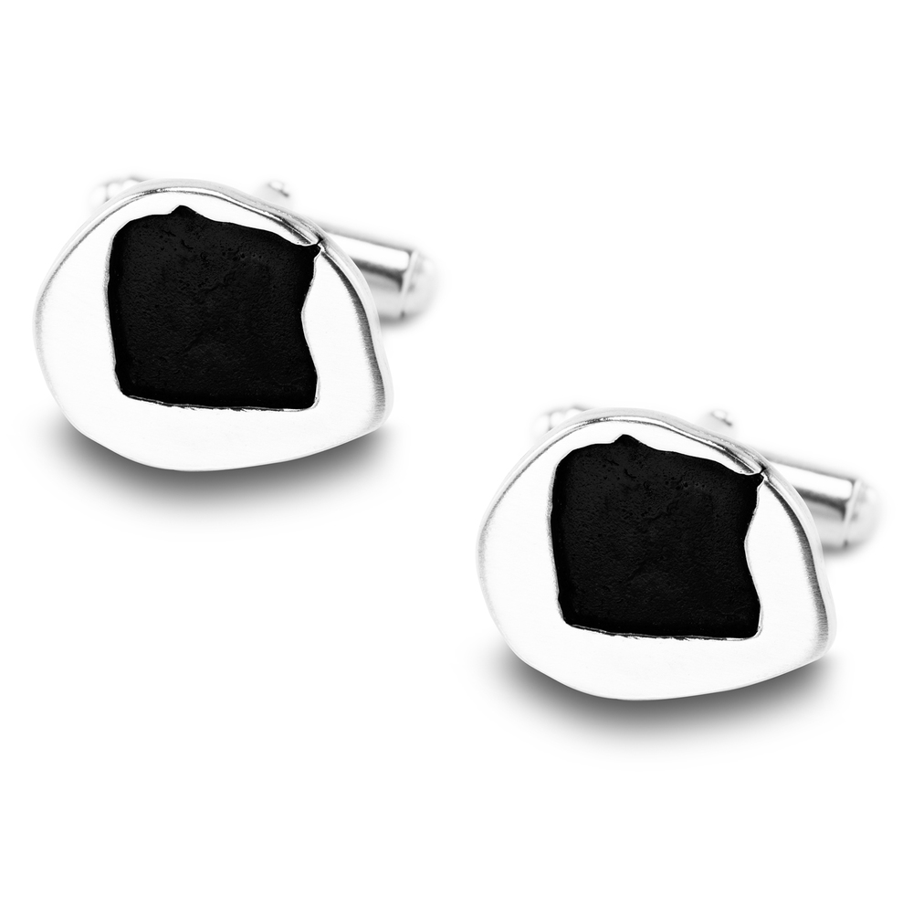 Young childs drawing made into handmade silver cufflinks