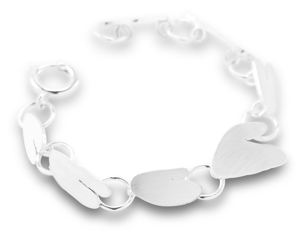 Handmade silver heart link bracelet from childs doodles