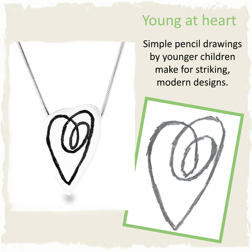 pendant heart childs drawing
