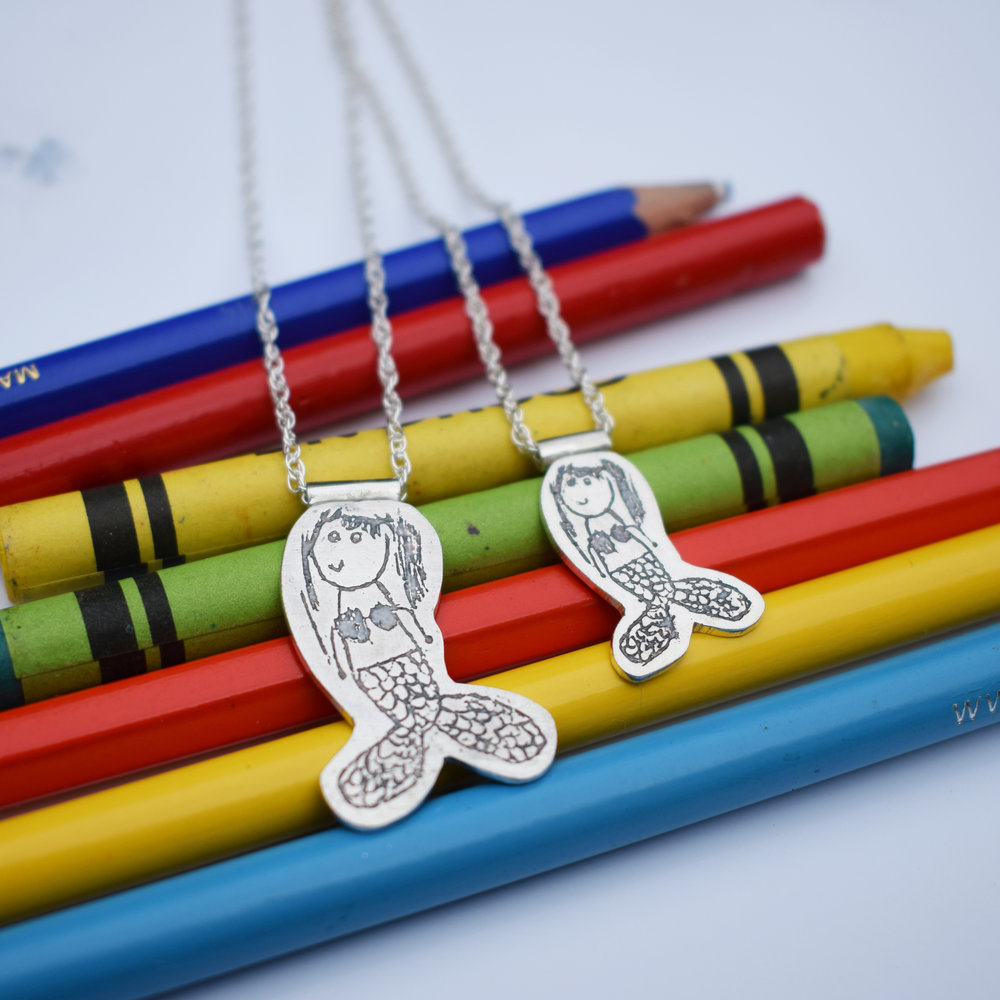 mermaid childs drawing jewellery