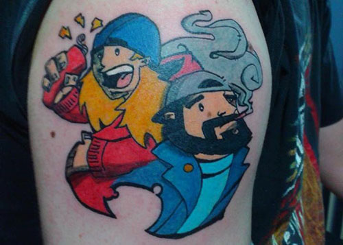 "@ThatKevinSmith     3 Aug 2013   Via  @PhilUribe  ""Here's my tattoo of  @JayMewes  and  @ThatKevinSmith . #Smod4life "" Holy shit, that's awesome! Thanks!"