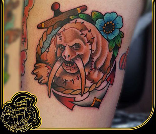 @moviemazz   Hey  @ThatKevinSmith  -  @gooney_toons  inked this Tusk piece permanently on somebody's flesh today... #snoochtothenooch