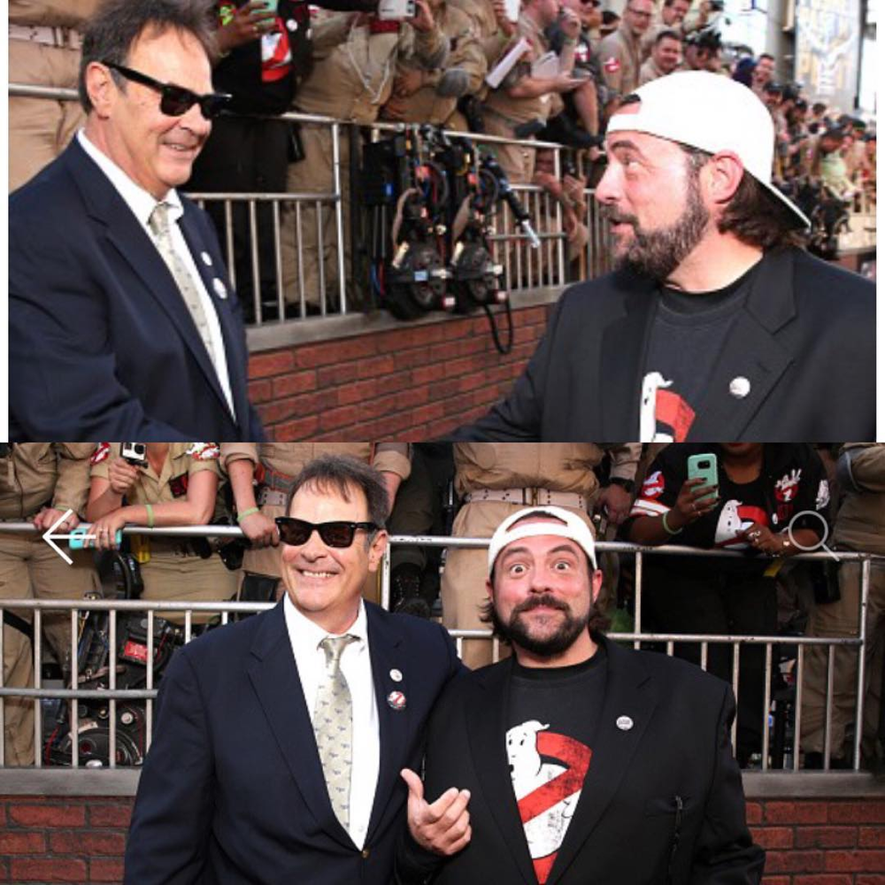 via thatkevinsmith I Got (El)Wood when I met #danaykroyd at the @ghostbusterspremiere. This man's work fueled my childhood - whether he was showcasing the Bass-O-Matic on @nbcsnl, or going on a mission from God with his brother Jake, or creating #ghostbusters. And as one of the OG#notreadyforprimetimeplayers, those of us who try to make funny for a living stand on the shoulders of his pioneering work. This bestie of #belushi is a comedy legend in my life so I was happy to snag this pic. For my take on the new#ghostbusters2016 flick, hit the link in my bio. #KevinSmith #jakeandelwood#whoyougonnacall