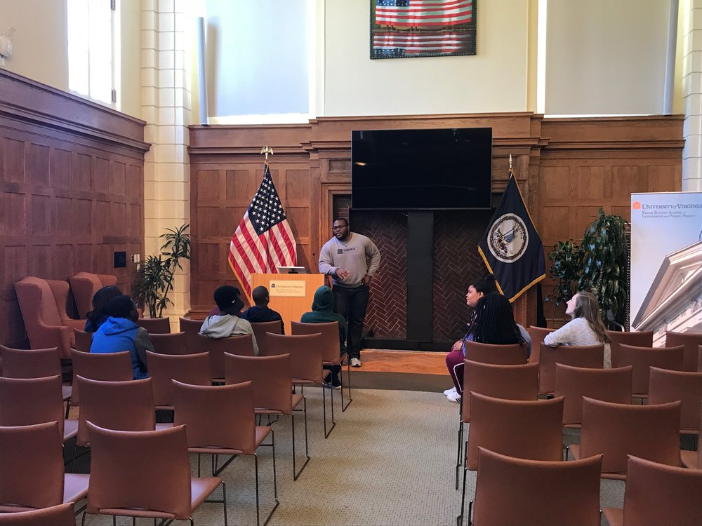 UVA student Pobo Ekeforo speaks to students at the Frank Batten School of Leadership and Public Policy.