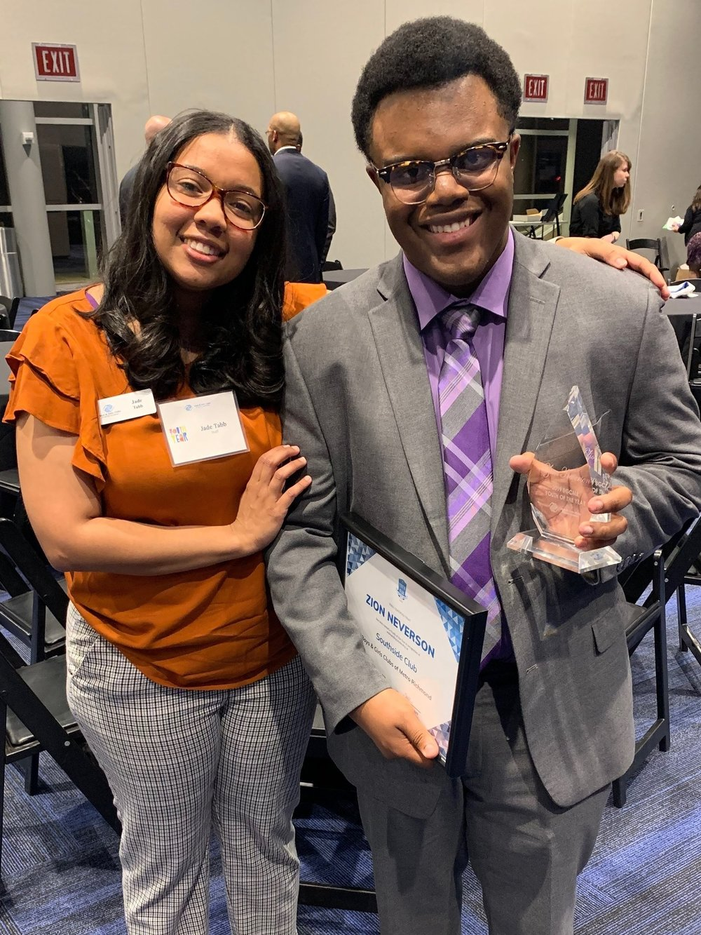 Alumni Coordinator Jade Tabb has served as Zion's mentor during the Youth of the Year process.