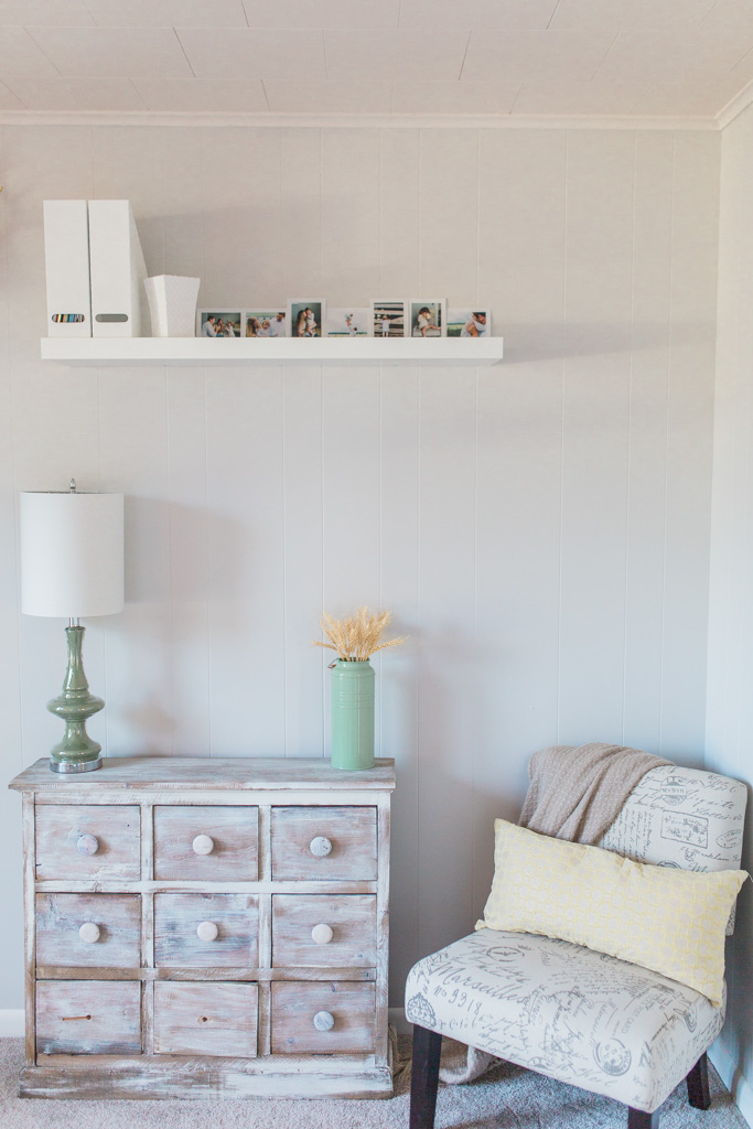 Office Makeover After Pictures | Beautiful Home Office Inspiration | DIY Project | Office Reveal | Renovation Series | Emma Rose Company | Craftsman Style Home Renovation | Cozy Chair | TJ Maxx | Ikea Floating Shelves