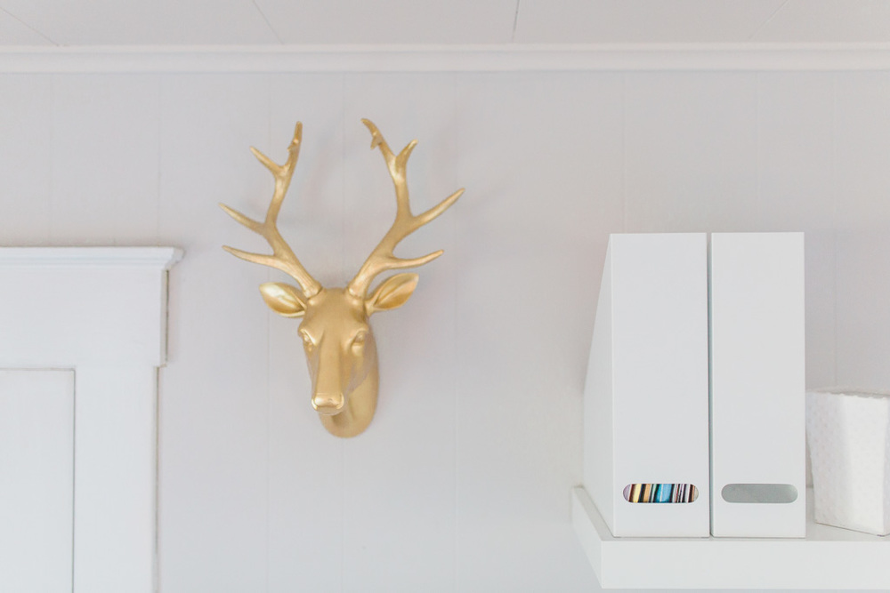 Office Makeover After Pictures | Beautiful Home Office Inspiration | DIY Project | Office Reveal | Renovation Series | Emma Rose Company | Craftsman Style Home Renovation | Office Details | Entrepreneur Dream Space | Hobby Lobby Gold Deer Head | Wall Art