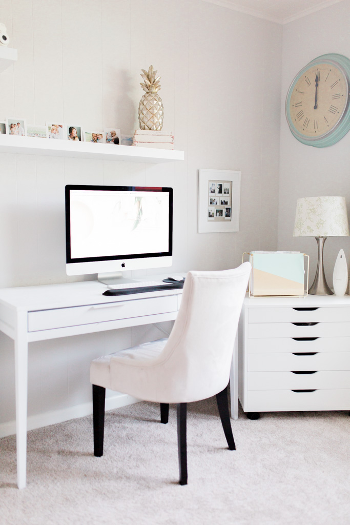 Office Makeover After Pictures | Beautiful Home Office Inspiration | DIY Project | Office Reveal | Renovation Series | Emma Rose Company | Craftsman Style Home Renovation | Office Details | Entrepreneur Dream Space | Office Space Details | Ikea Lack Shelves | Mac Computer Desktop | Beautiful Office Details | Home Office Inspiration | Silver Pineapple Wayfair