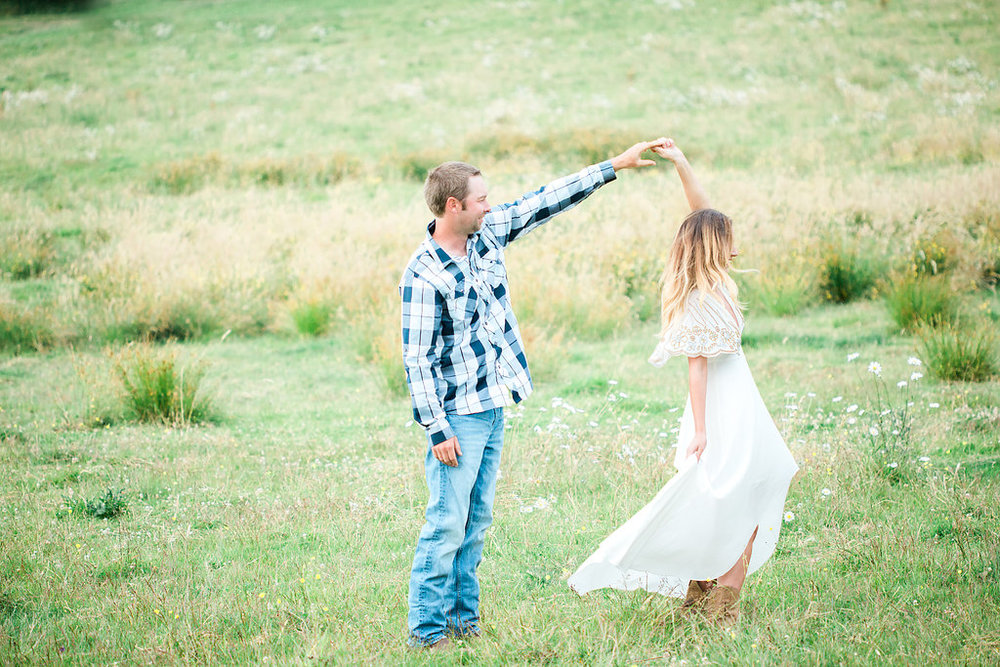 Beautiful outdoor engagement session | What to wear | Photo Inspiration | Engagement session | Portrait | White | Detail Shots | Mastin Labs | Engaged | Fuji 400 | Dancing | Couple Dancing in Field | In Love