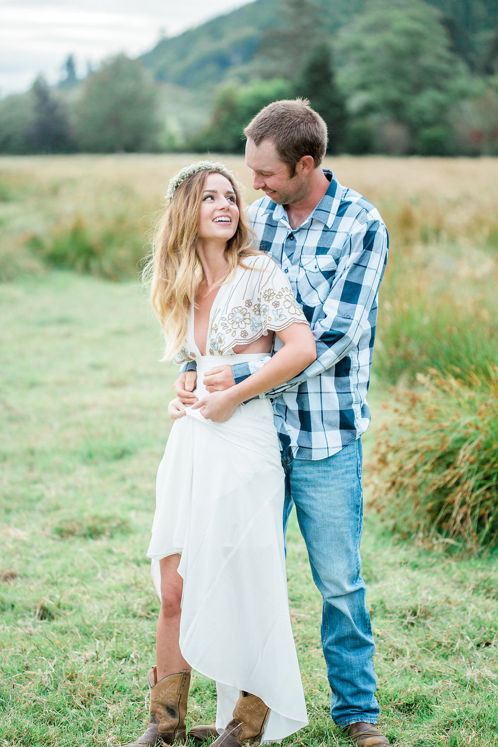 Beautiful outdoor engagement session | What to wear | Photo Inspiration | Engagement session | Portrait | White | Detail Shots | Mastin Labs | Engaged | Fuji 400 | Beautiful Couple | Couple in Love | Beautiful posing | Hair Piece for Photo Session | Engaged to be Married | Dancing in a Field | Etsy Headband