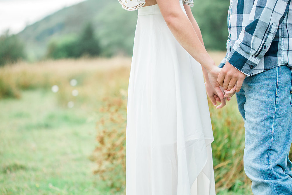 Beautiful outdoor engagement session | What to wear | Photo Inspiration | Engagement session | Portrait | White | Detail Shots | Mastin Labs | Engaged | Fuji 400 | Beautiful Couple | Couple in Love | Beautiful posing | Hair Piece for Photo Session | Engaged to be Married | Holding Hands