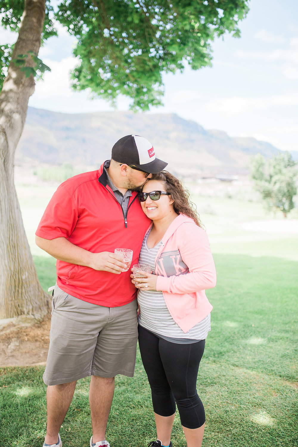 Golf Course Proposal | 9th Hole Proposal | Golf Course Photo Session | Beautiful Engagement Session | Seattle Wedding Photographer | Surprise Proposal | Kiss on Forehead