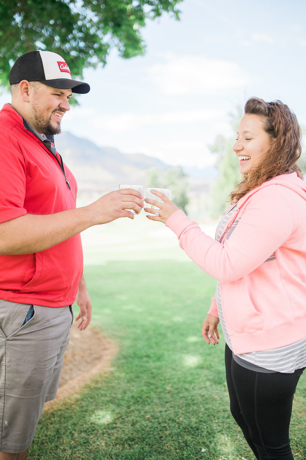 Golf Course Proposal | 9th Hole Proposal | Golf Course Photo Session | Beautiful Engagement Session | Seattle Wedding Photographer | Surprise Proposal | Cheers